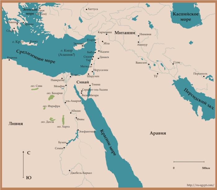 Карта Древнего Востока в эпоху Нового Царства